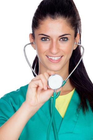 Attractive woman doctor with green uniform isolated on white background photo