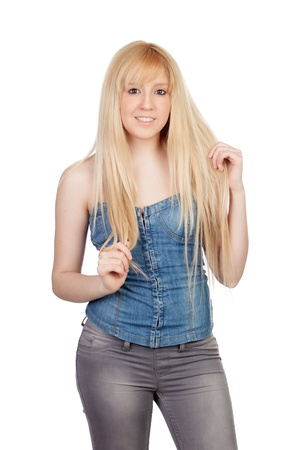 Sensual pose of an young girl with long hair isolated on a over white background photo