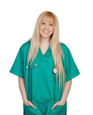 Young nurse with long hair isolated on a over white background photo