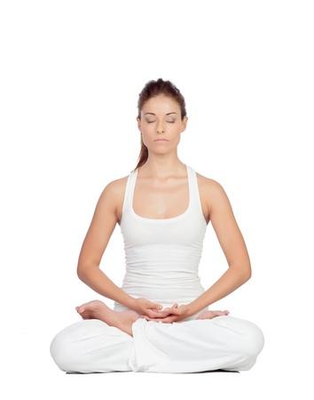 Mooie vrouw doet yoga op een witte achtergrond Stockfoto