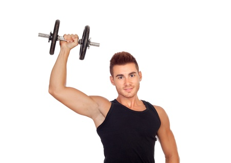 muscled: Muscled guy lifting weights isolated on white background
