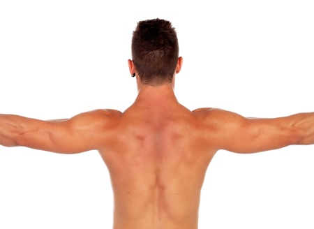 Strong boy showing his back muscles isolated on a white background photo
