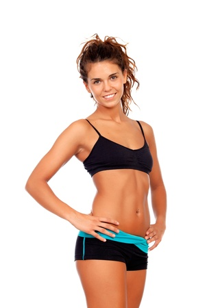young underwear: Beautiful woman with clothes for fitness isolated on a white background