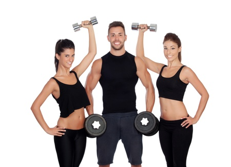 Group of friends with dumbbells isolated on white background photo