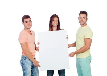 Group of young people with a blank placard isolated on a white background photo