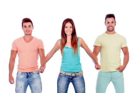 suitor: Bella ragazza con due bei ragazzi isolati su uno sfondo bianco
