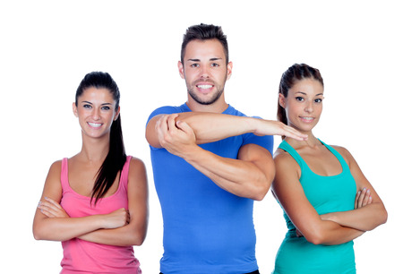 sport clothes: Group of young people with sport clothes isolated on a white background