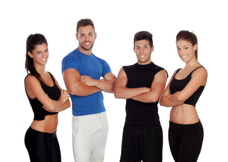 Group of young people with sport clothes isolated on a white background photo