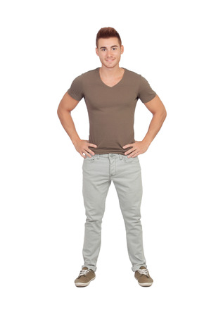 hand on hip: Natural young men with jeans isolated on a white background