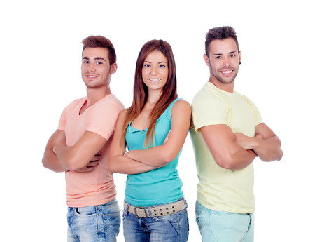 suitor: Two handsome boys with a beautiful girl isolated on a white background