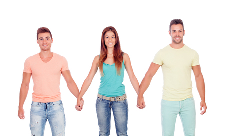 suitor: Pretty girl with two handsome boys isolated on a white background