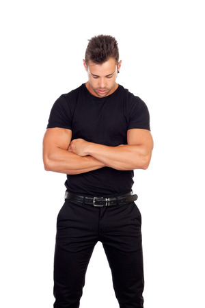 Distressed man in black isolated on a white background photo