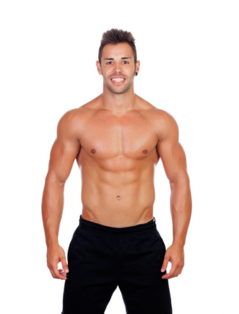 Handsome muscled men isolated on a white background