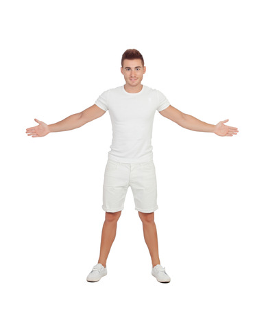 arm extended: Casual young men isolated on a white background Stock Photo