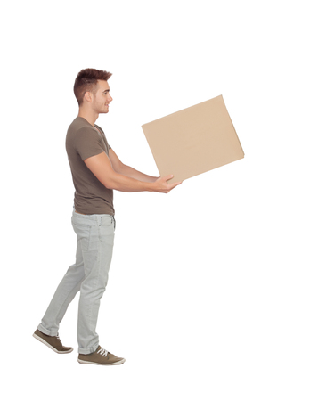 Casual young man holding a box  photo
