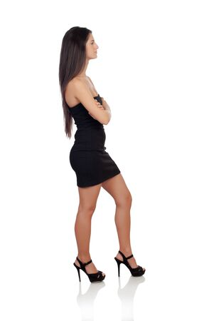 Sensual brunette girl with black dress  photo