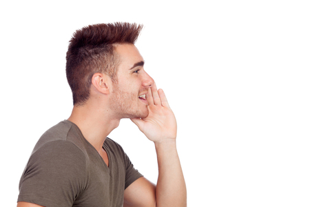 Male Profile: Casual young man shouting isolated on a white background