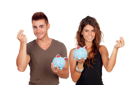 Young couple saving for their future life Stock Photo