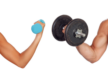 lifting weights: Arm of man and woman lifting weights isolated on a white background Stock Photo