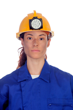 workwoman: Women working in mining isolated on white background