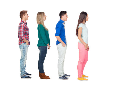 to queue: Four casual group of people in a row isolated over a white background