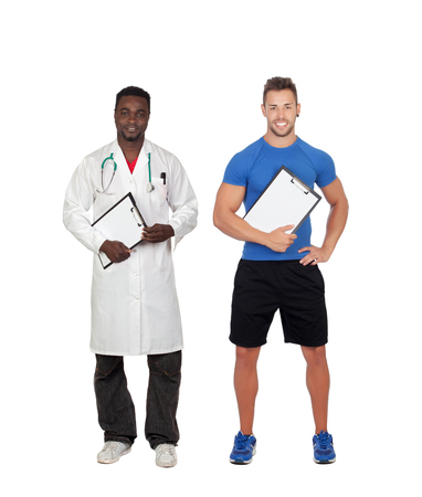 Personal trainer and african doctor isolated on a white background