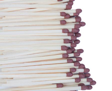 pyromaniac: Many matches close up isolated on white background