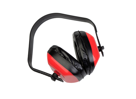 Ear protection for construction isolated on a white background photo
