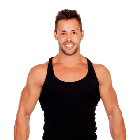 Strong man with black t-shirt isolated on a white background photo