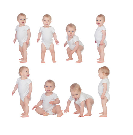 Sequence of a baby learning to walk isolated on white background Stok Fotoğraf - 27715953