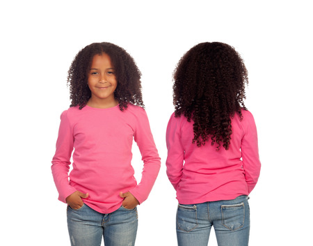 Front and back views of a beautiful African American girl isolated on a white background Standard-Bild