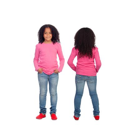 black girl: Vorder-und Rückansichten einer schönen African American Mädchen, die isoliert auf weißem Hintergrund
