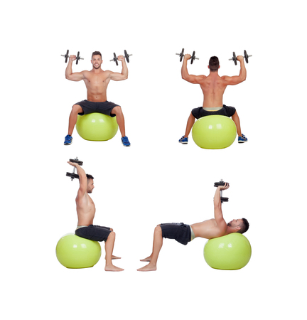 Sequence of a man lifting weights isolated on a white background photo
