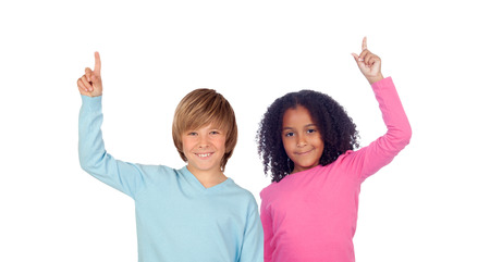 African girl and Caucasian boy asking to speak isolated on a white  photo