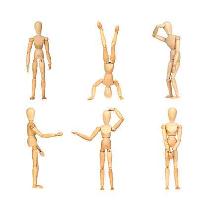 artists dummy: Sequence gestures articulated wooden mannequin isolated on a white background