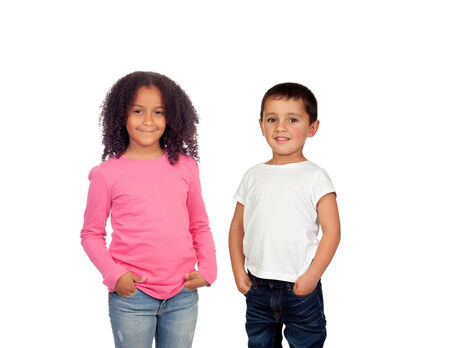 African girl and Caucasian boy isolated on a white background photo