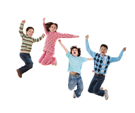Four children jumping isolated on a white background photo