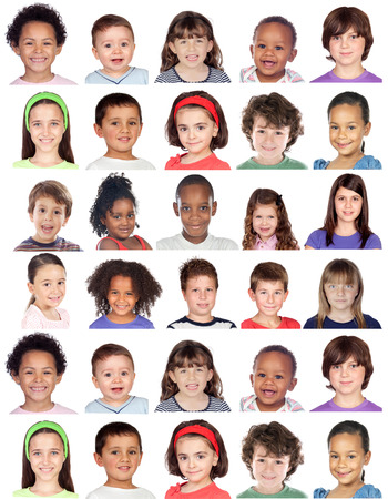facial expressions: Photo collage of children isolated on white background