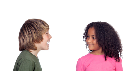 Boy talking with his friend, a beautiful african girl photo
