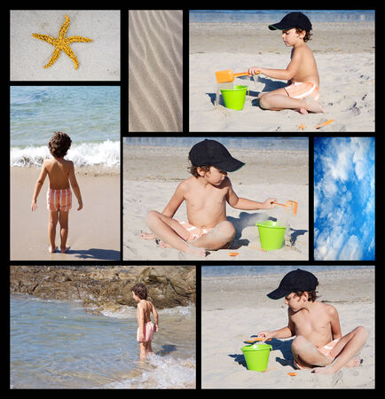 Collage of photos of a child on the beach photo