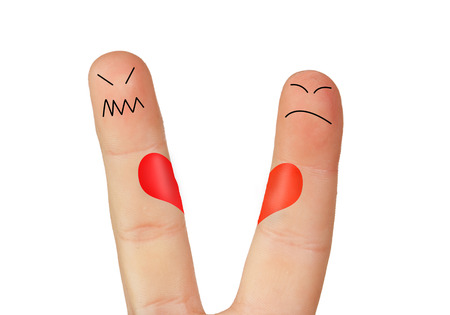 breakup: Fingers symbolizing the separation of a couple