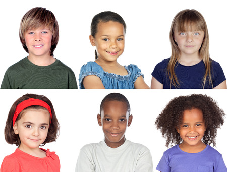 Photo collage of children isolated on a white background photo