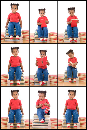 Collage with many photos of african baby and books isolated on white photo