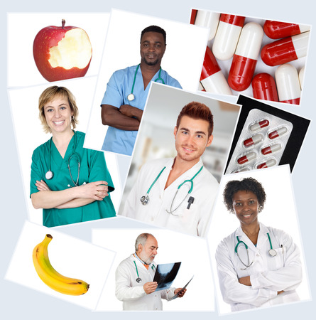 Collage of many doctors with fruits and pills  photo