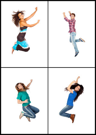 Four young people jumping isolated on white background photo