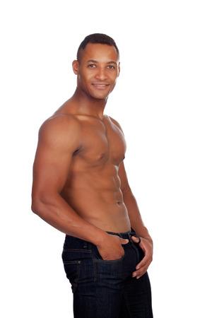 nackte brust: Starke Casual Mann in Jeans und nackten Oberk�rper isoliert auf wei�em Hintergrund Lizenzfreie Bilder