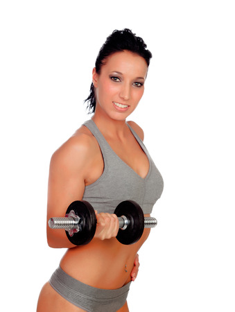 stimulating: Brunette girl stimulating their fitness with dumbells isolated on white background