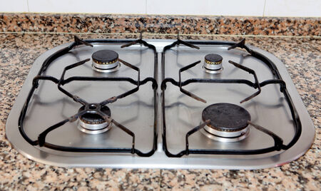 butane: Traditional Kitchen with four-burner butane gas Stock Photo