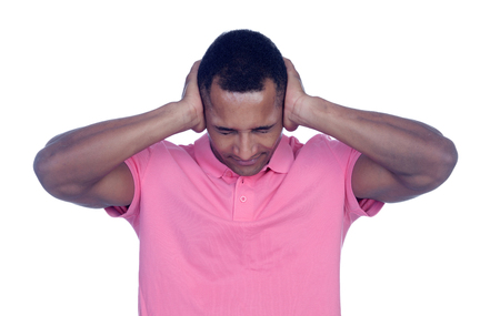 Latin men covering his ears isolated on a white background photo