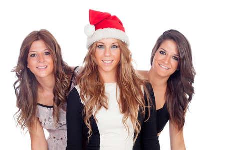mujeres elegantes: Mujeres elegantes que celebran la Navidad aislado en un fondo blanco